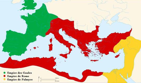 L'empire de Palmyre, qui sera repris par Rome, tout comme l'empire des Gaules