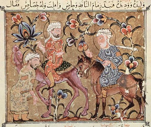 Une représentation du 14e siècle, le premier a volé le chameau au second, qui a lui-même volé un cheval