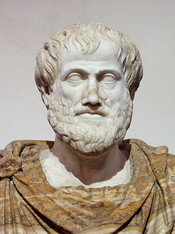 Buste d'Aristote. Marbre, copie romaine d'un original grec en bronze de Lysippse (vers 330 av. J.-C.).