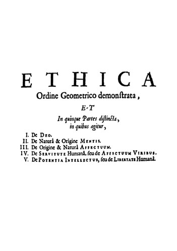 Page de titre de l'édition de 1708 de L'éthique de Spinoza