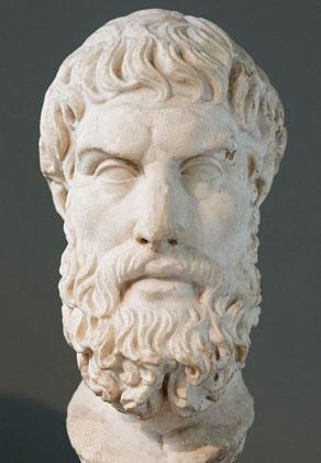 Copie romaine d'une représentation hellénistique d'Epicure, fin du 3e siècle – début du 2e siècle avant notre ère