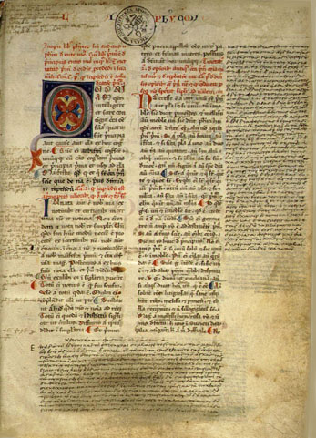 Manuscrit médiéval, en latin, de la Physique d'Aristote