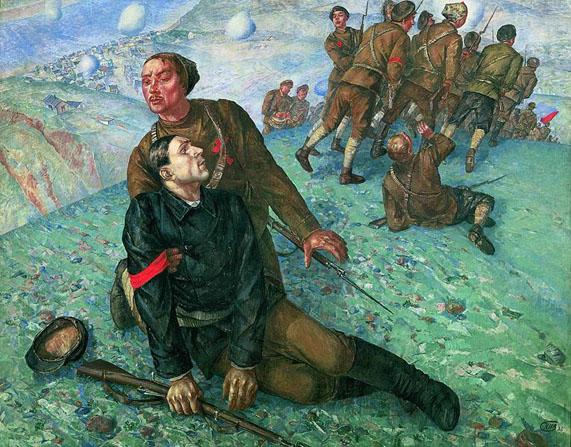 Kouzma Petrov-Vodkine, La mort du commissaire, 1928